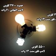 مقایسه دمای رنگ نور سه منبع نور رایج 550 کلوین-3500 کلوین-2700 کاوین