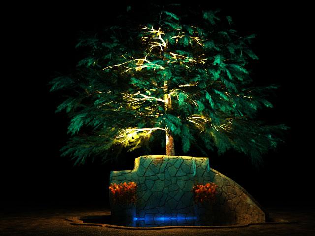 نمونه نورپردازی درخت