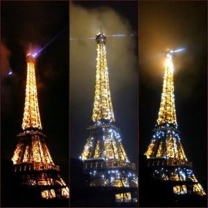 نورپردازی برج ایفل به شکل فانوس و سوسو زننده