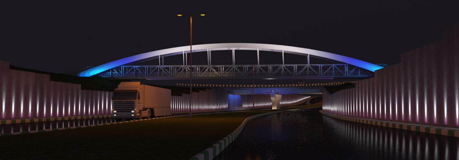 طراحی نورپردازی پل عابر پیاده شهید فهمیده مشهد