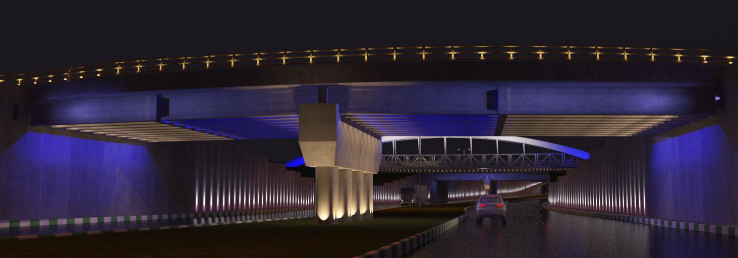 طراحی نورپردازی گذرگاه اتومبیل میدان شهید فهمیده مشهد