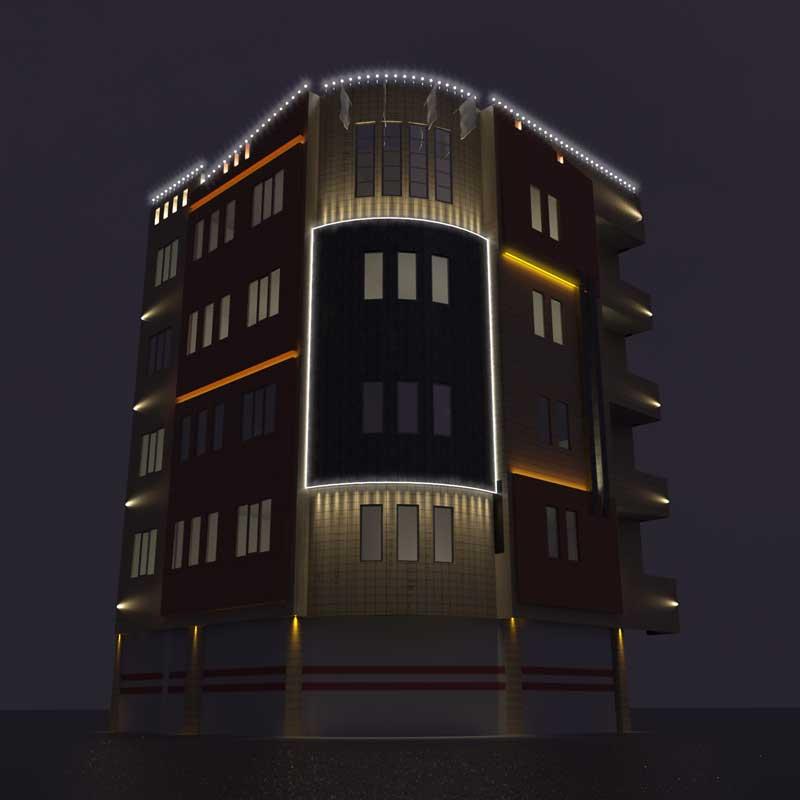 طراحی نورپردازی ساختمان مسکونی-مجتمع مسکونی میلاد