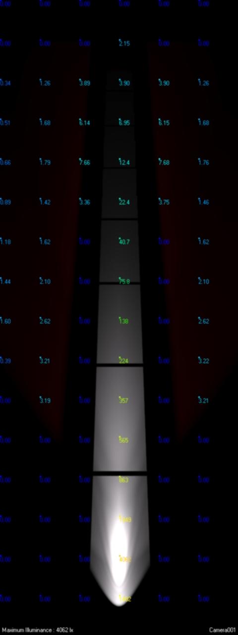 منبع نور با توان نوری 600 لومن و با زاویه خروجی نور 10 درجه نصب شده در فاصله 30 سانتی متری + منبع نور با توان نوری 600 لومن و با زاویه خروجی نور 10 درجه نصب شده در فاصله 10 سانتی متری
