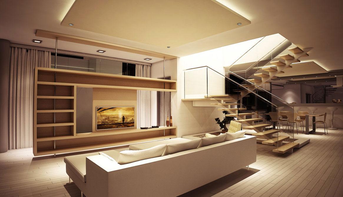 یک نمونه نورپردازی اتاق پذیرایی- استفاده از نورهای متمرکز