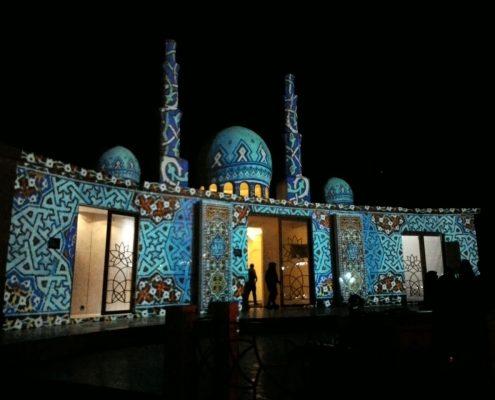 نورپردازی مپینگ سه بعدی 3D Mapping مسجد مجموعه تفریحاتی چالیدره مشهد.