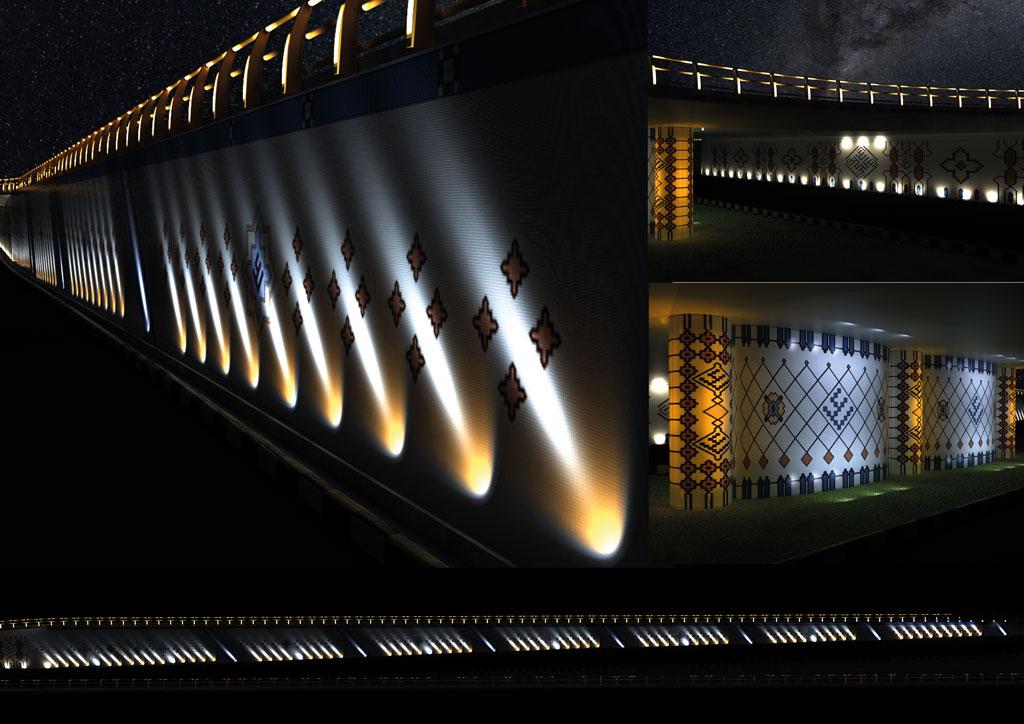 طراحی نورپردازی نهایی مطابق با طرح کاشیکاری و نظر زیباسازی