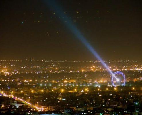 آلودگی نوری-نمایی از آلودگی نور حاصل از نورپردازی ها و روشنایی های آلوده کننده در شهر مشهد