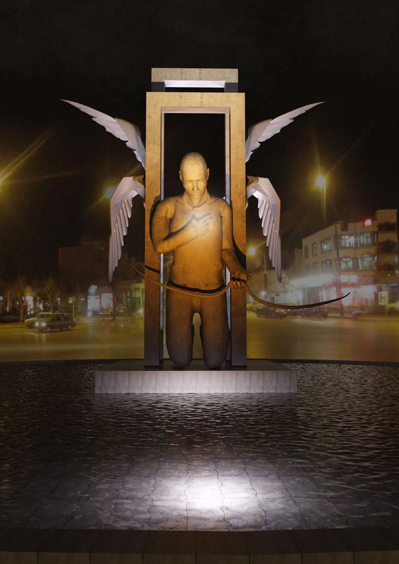 طراحی نورپردازی پیشنهادی برای مجسمه دروازه بهشت میدان پانزده خرداد کهربا
